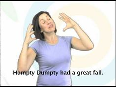 Humpty Dumpty - Bilingual Nursery Rhymes Sign Language Songs, Deaf Sign, Finger Plays, Deaf Culture, Preschool Songs, American Sign Language, Humpty Dumpty, Story Video, Stories For Kids
