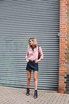 SUMMER VIBE. Mini skirt, striped button down shirt and bare legs.