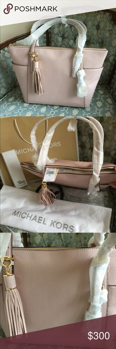 Michael Kors Pebble Leather Jet Set Tech Bag Beautiful blossom pink pebble leather with matching gold-tone key charm tassel & box, dust bag & shopping bag.  Zip-top closure, open side pockets, inside zipper pocket, two slip pockets & padded pocket for iPad or tablet.  Protective feet on bottom.  Smoke-free home. Michael Kors Bags Totes