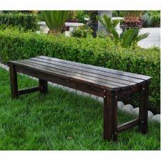 Backless Cedar Garden Bench (Burnt Brown) (18.25H x 60W x 17D)