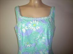 Lilly Pulitzer Green and Blue Maxi Dress Size by SoleilVintageShop