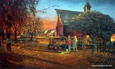 Two farmers discuss their harvest as the geese fly overhead going south for the winter. The tractor and barn provide the traditional setting for another Barnhouse print. There are three different sign