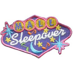 Mall, Sleep, Sleepover, Night, Star, Patch, Embroidered Patch, Merit Badge, Badge, Emblem, Iron On, Iron-On, Crest, Lapel Pin, Insignia, Girl Scouts, Boy Scouts, Girl Guides