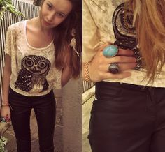Christmas Present Owl Top, Leather Trousers, Feather Hair Clip, Primark Ring, H&M Ring