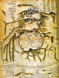 경도(京都<海東地圖>) 채색필사본. 18세기 중엽. 66.0 * 48.0cm. 서울대학교 규장각 소장