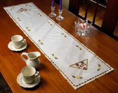 Orchid Embroidered Vintage Table Runner