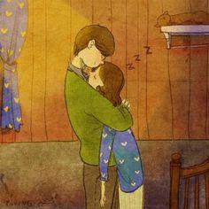 анимация, аниме, искусство, парень, рисунок, девушка, иллюстрация, спать