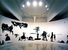 """Kara Walker, """"Slavery! Slavery! presenting a GRAND and LIFELIKE Panoramic Journey into Picturesque Southern Slavery or """"Life at 'Ol' Virginny's Hole' (sketches from Plantation Life)"""" See the Peculiar Institutions as never before! All cut from black paper by the able hand of Kara Elizabeth Walker, an Emancipated Negress and leader in her Cause,"""" 1997."""