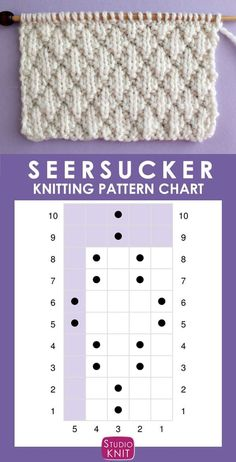The Seersucker Stitch Knitting Pattern creates textured rows of raised puckered diamonds with an easy Repeat of knits and purls. Chart of the Seersucker Stitch Knitting Pattern creates textured rows of raised puckered diamonds with an easy Repe Baby Knitting Patterns, Knitting Charts, Knitting Stitches, Free Knitting, Stitch Patterns, Crochet Patterns, Simple Knitting, Baby Patterns, Knitting For Beginners