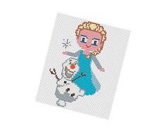 Elsa and Olaf - Frozen pattern by POWSTITCH