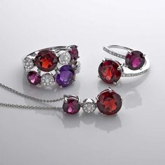 Pendant, Toi & Moi ring and ring in rhodolite, garnet, amethyst and diamonds by Isabelle Langlois