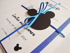 Personalised-Handmade-Disney-Mickey-Mouse-Ribbon-Tied-Wedding-Invitation-Sample