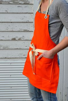 Canvas Utility Apron for Him or Her in the Kitchen Workshop Studio in Canvas… Cafe Uniform, Waiter Uniform, Work Uniforms, Staff Uniforms, Cafe Apron, Kitchen Workshop, Workshop Studio, Restaurant Uniforms, Gardening Apron