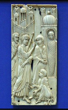 Ivory panel of the Raising of Lazarus. Probably made in :Venice,9th cent.