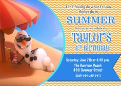Frozen Movie Olaf Summer Snowman Beach Swim by PrettyPaperPixels