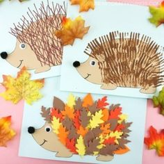 Three fun and easy ways to use our free hedgehog template to create cute hedgehog crafts for kids. Leaf hedgehog, fork painting and ruler lines fall crafts. Use this free hedgehog template to create 3 cute hedgehog crafts for fall! Scarecrow Crafts, Fox Crafts, Tree Crafts, Animal Crafts, Easy Crafts, Easy Diy, Thanksgiving Crafts For Kids, Crafts For Kids To Make, Kids Crafts
