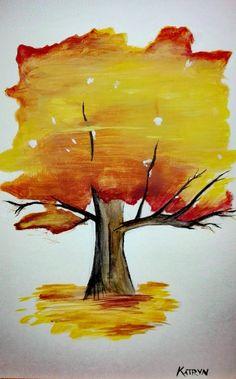 Gouache Painting, Autumn Trees, My Arts, Fall Trees