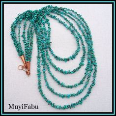 Turquoise Copper Multi-Strand Necklace
