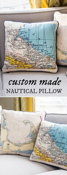 Turn your favorite place into a keepsake. Custom pillows and totes become personalized with silkscreened maps and nautical charts. Great gift idea.