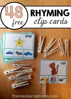 Great rhyming activity for preschool and kindergarten. Just have your child clip the picture that rhymes to the free rhyming cards.