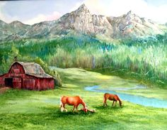 """High Mountain Range, Good Luck Little One"" an original oil painting on canvas that tells the story of a foal asleep beside her dam. Mountain Landscape with turning trees, pasture and a small stream. There is an old large red barn with a weather vane. The painting is 18"" x 24"" and is framed with a dark wood frame with a linen liner."