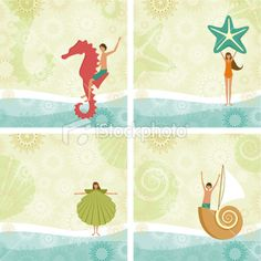 Children's beach backgrounds Royalty Free Stock Vector Art Illustration