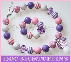 SALE SALE Doc McStuffins purple pink Girls chunky Bubble gum necklaces by GirlyGirlzBoutique12, $12.50