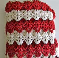 Crochet Afghan - Handmade Vintage Red and White Crochet Lap Blanket ... View all images www.etsy.com