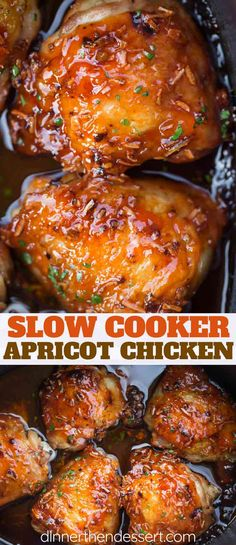 Slow Cooker Apricot Chicken is crispy, sweet and savory with just five ingredien. Slow Cooker Apricot Chicken is crispy, sweet and savory with just five ingredients. Recipes for homemade onion soup mix and French dressing too! Crock Pot Recipes, Crock Pot Cooking, Meat Recipes, Yummy Recipes, Crockpot Dishes, Crockpot Recipes For Chicken, Recipies, Cooking Bacon, Potato Recipes