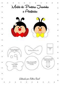 Ponteira de caneta ou lápis abelhinha e joaninha com molde