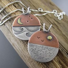 Reversible Shoreline Equinox Mixed Metal Pendant