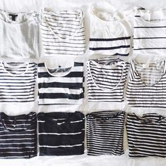 a hundred different kinds of striped t-shirts - I like! Perfect for free time & business as well if you combine right | Finding Fortune