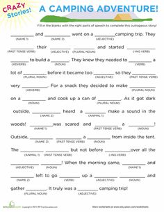Worksheets: Fill in the Blanks Story: Camping- Great to do & read at camping!