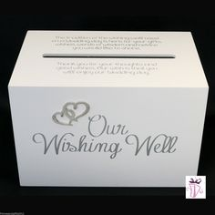Wedding Wishing Well Gift Card White BOX With Quote OUR Wishing Well | eBay