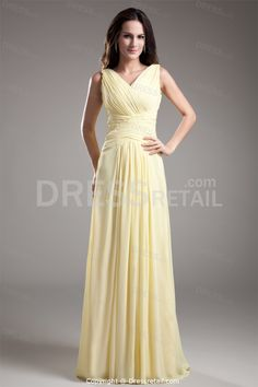 Light Yellow Floor-Length Chiffon Pleats V-Neck Long Bridesmaid Dress -Bridesmaid Dresses
