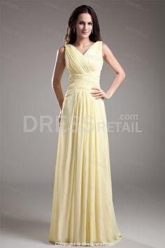 Light Yellow Floor-Length Chiffon Pleats V-Neck Long Bridesmaid Dress -Bridesmaid Dresses