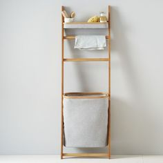 bamboo leaning bath self with hamper