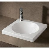 Found it at Wayfair - Isabella Square Semi-Recessed Bathroom Sink with Center Drain in White