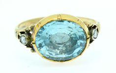 A Stunning Georgian 5ct Oval Aquamarine & Rose Cut Diamond Ring Circa 1800's