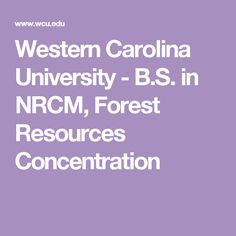 Western Carolina University - B.S. in NRCM, Forest Resources Concentration