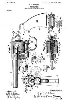 1903 - Colt Revolver - C. 1911 Pistol, Revolver, Weapons Guns, Guns And Ammo, Patent Drawing, Poster Poster, Cool Inventions, Patent Prints, Firearms