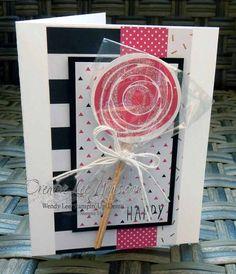 Swirly Lolipop Birthday by Wendy Lee, Swirly Bird stamp set, Stampin Up, Stamping, birthday card. Pin+: Children: All). Handmade Birthday Cards, Birthday Greeting Cards, Card Making Inspiration, Making Ideas, Lollipop Birthday, Cute Cards, Cards Diy, Fancy Fold Cards, Bird Cards