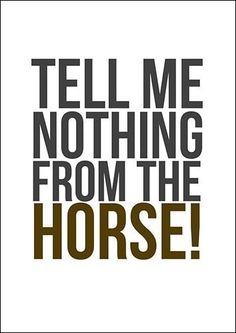 Telling me nothing from the horse