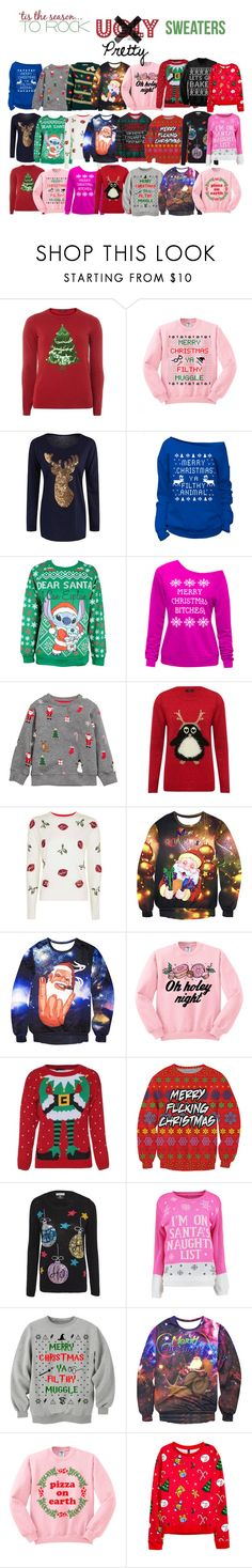 """The pretty sweaters"" by acgodinho ❤ liked on Polyvore featuring Dorothy Perkins, WithChic, Disney, H&M, M&Co, Topshop, Junk Food Clothing, Boohoo, Christmas and pretty"