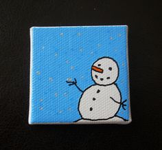 Snowman Tiny Magnet #8 Drawn Art by CottonwoodCove on Etsy