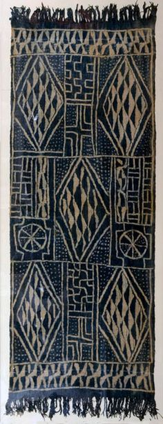 Cameronean ceremonial textile, hand-woven on a narrow loom then indigo resist dyed. Textile Patterns, Textile Design, Textile Art, African Textiles, African Fabric, African Design, African Art, Art Tribal, Art Africain