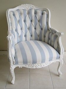 French Provincial Louis XV Wing Chair updated with fabric and paint