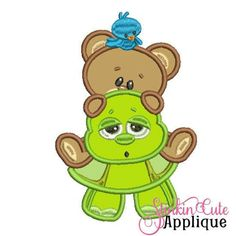 Machine Embroidery Designs Applique Bear & Turtle Friends