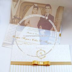 Convite Modelo 10D - Bodas de Ouro com Foto - Casamentos e Travessuras