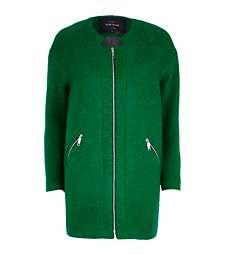 Green collarless boucle coat $160.00